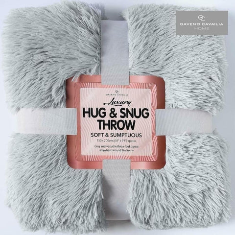Luxury Hug and Snug Sumptuous Fluffy Fleece Double Bed Blanket Throw - Silver