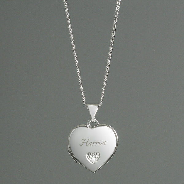 Personalised Sterling Silver & Cubic Zirconia Heart Locket Necklace