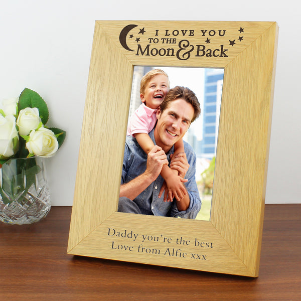 Personalised 'To the Moon and Back' 6x4 Oak Finish Photo Frame