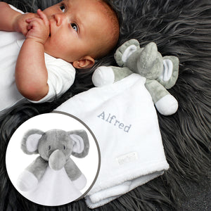 Personalised Plush Grey Elephant and White Comforter for Baby