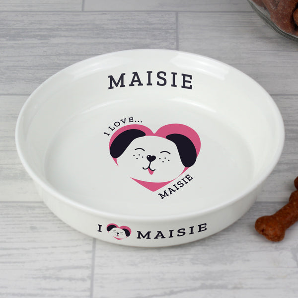 Personalised 'I Love my Dog - Cute Design' Small Ceramic White Pet Bowl