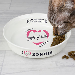 Personalised 'I Love my Cat - Cute Design' Small Ceramic White Pet Bowl