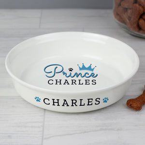 Personalised Prince Small Ceramic White Pet Bowl