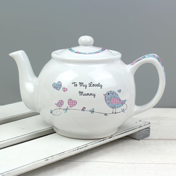 Personalised Floral Bird Teapot
