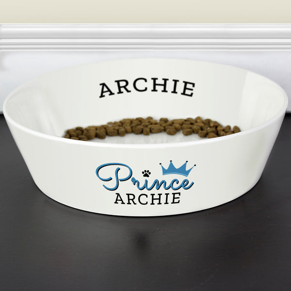 Personalised Prince 20cm Large Bone China Pet Bowl