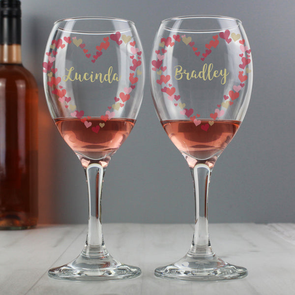 Personalised Confetti Hearts Pair of Wine Glasses