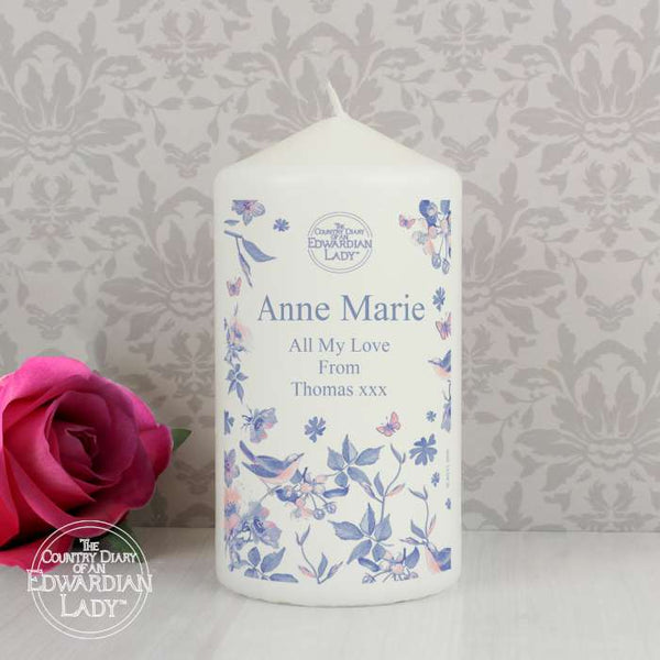 Personalised Country Diary Blue Blossom Candle