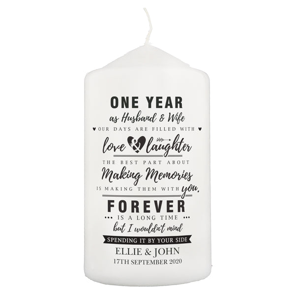 Personalised Anniversary Pillar Candle
