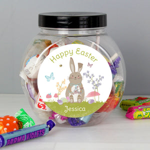 Personalised Easter Meadow Bunny Sweets Jar