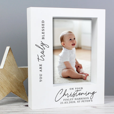 Personalised 'Truly Blessed' Christening 7x5 Box Photo Frame