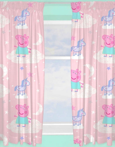 "Official Peppa Pig Stardust Character Ready Made and to Hang Curtains 66"" x 54"""