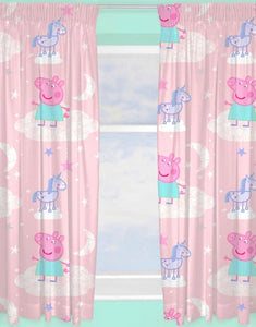 "Official Peppa Pig Stardust Character Ready Made and to Hang Curtains 66"" x 72"""