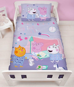 "Official Peppa Pig Sleepy ""Reversible"" Junior, Toddler or Cot Duvet Cover Bedding Set"