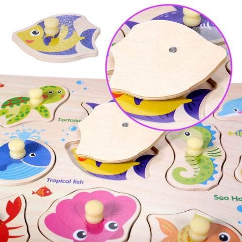 Wooden Under the Sea Puzzle Jigsaw Early Learning Baby Kids Educational Toys