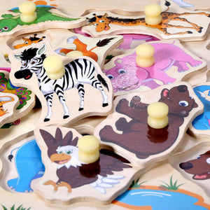 Wooden Animal Letter Puzzle Jigsaw Early Learning Baby Kids Educational