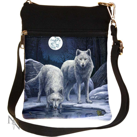 Small Warriors Of Winter Wolf Shoulder Bag by Lisa Parker