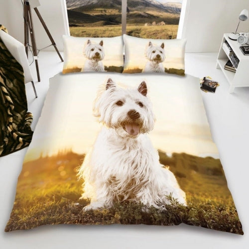 uxury 3D Effect Westie Design Duvet Cover with Matching Pillow Case - Single