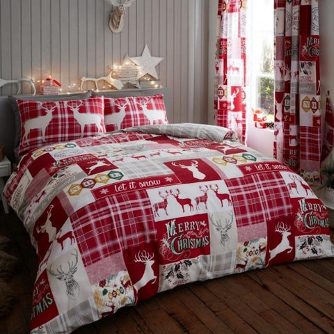 Luxury Christmas Patchwork Stag Duvet Cover with Matching Pillow Case Bedding Set