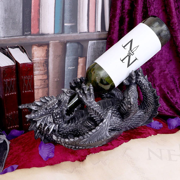 Metallic Silver Dragon Guzzler Wine Bottle Holder - (PRE ORDER) Stock Due: 14/12/20