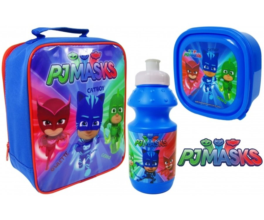 "Official Pj Masks 3pc Lunch Bag with Shoulder Strap, Sports Bottle & Sandwich Container ""Perfect For School"""