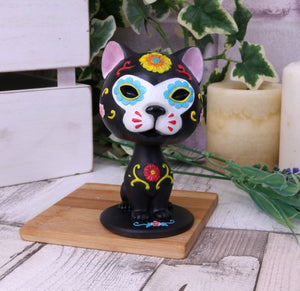 Bob De Los Muertos Day Of The Dead Cat Bobble-head 10.5cm