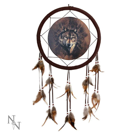 Dreamcatcher Lone Wolf with Ombre Feathers 33cm