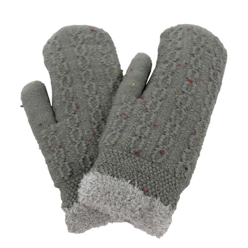 Confetti Cable Knit Mittens With Chenille Lining, PTMT8105