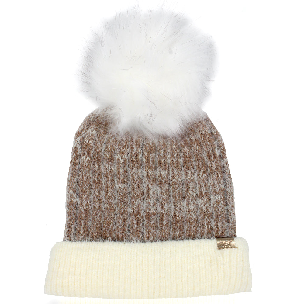 Super Soft Yarn Beanie With Faux Fur Pom