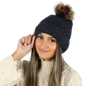 Super Soft Marled Knit Beanie with Faux Fur Pom