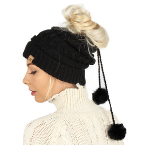 Adjustable Cable Knit Ponytail Beanie with Faux Fur Poms