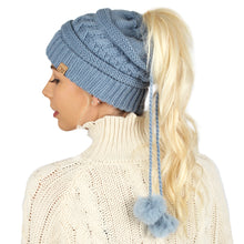 Load image into Gallery viewer, Adjustable Cable Knit Ponytail Beanie with Faux Fur Poms