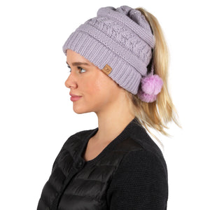 Adjustable Cable Knit Ponytail Beanie with Faux Fur Poms - ABBT165