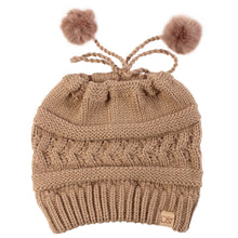 Load image into Gallery viewer, Adjustable Cable Knit Ponytail Beanie with Faux Fur Poms - ABBT165