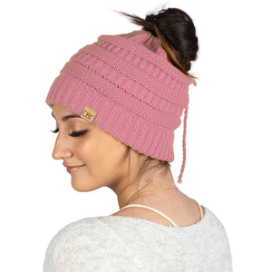 Solid Ponytail Beanie