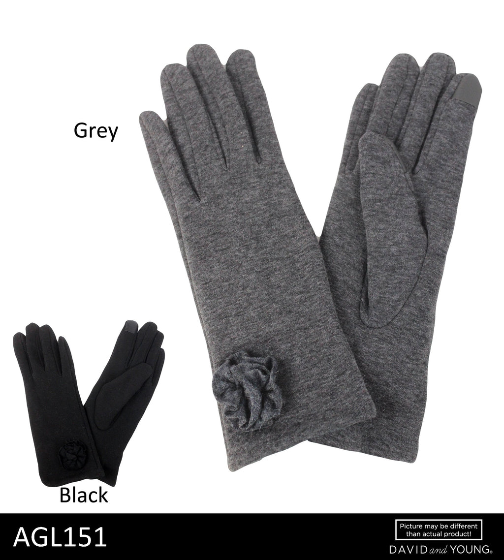 AGL151 - Tech Touch Wool Blend Gloves with Self Rosette