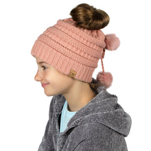 Load image into Gallery viewer, Solid Knit Kids Ponytail Beanie with Faux Fur Poms