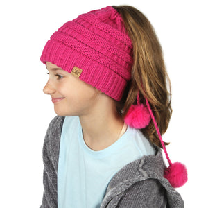 Solid Knit Kids Ponytail Beanie with Faux Fur Poms