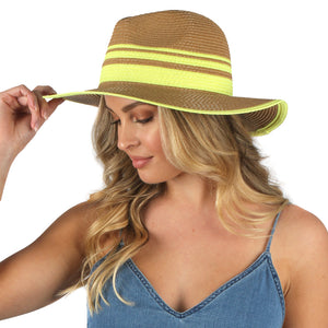 Straw Panama with Neon Trim
