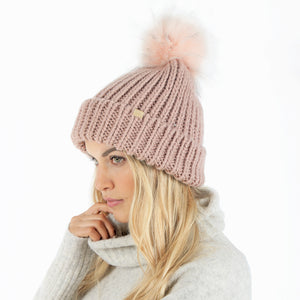 Jewel Knit Cuffed Beanie With Faux Fur Pom
