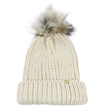 Load image into Gallery viewer, Jewel Knit Cuffed Beanie With Faux Fur Pom