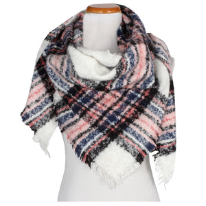 Plaid Triangle Scarf With Fringe