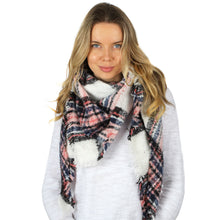Load image into Gallery viewer, Plaid Triangle Scarf With Fringe