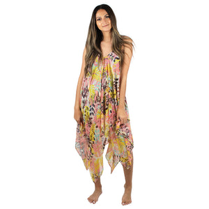 Tropical Print Dress Shawl