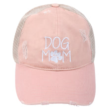Load image into Gallery viewer, Dog Mom Distressed Mesh Back Ponyflo® Cap