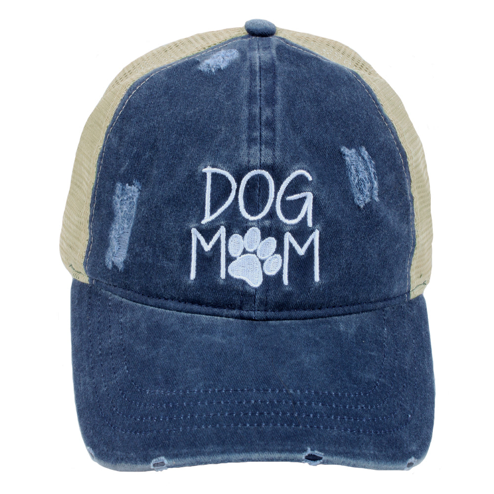 Dog Mom Distressed Mesh Back Ponyflo® Cap