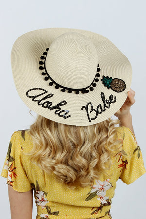GWFP1207 - ?Aloha Babe? Verbiage with Pineapple Sequins Straw Floppy