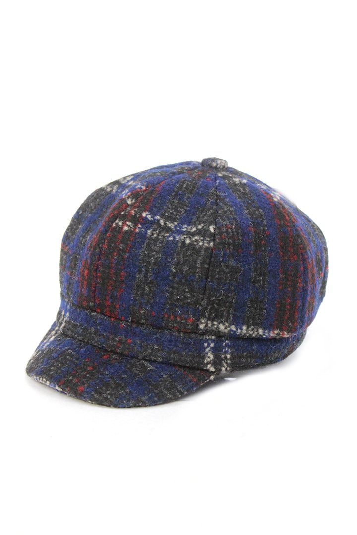 JCCAB2785 - Wool Blend Plaid News Boy Cabbie