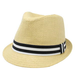 Straw Fedora with Black Stripe Band