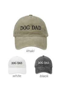 LCAP412 - DOG DAD Embroidered on Vintage Wash Cap