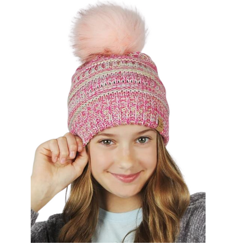 Kids Space Dye Slinky Beanie With Faux Fur Pom